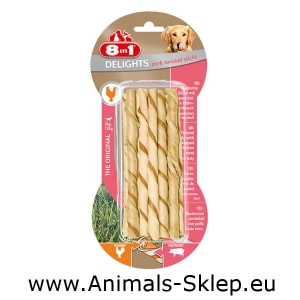 8in1 Delights Pork Twisted Sticks 10szt